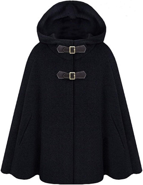 Yeokou Women's Retro Batwing Cape Hooded Poncho Wool Blend Coat Outwear Cloak