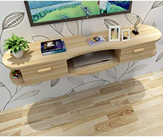 Floating Tv Shelves with Door, Wall Mounted Media Console Wood Hanging Tv Cabinet Multimedia Wall Shelf for Cable Boxes Ro...