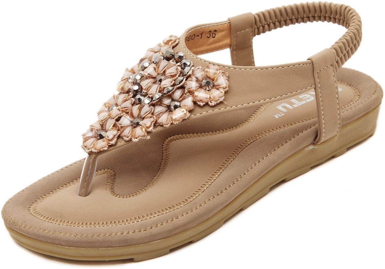 MYTANG New Boho Fashion Womens Summer Beach Loafer Sandals Rhinestones flip Flops shoes