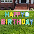 """Aplus Happy Birthday Yard Sign Lawn Letters Set with Stakes, 18"""" Colorful Weather-Resistant Signs for Backyard Celebration Colorful Party Outdoor Decorations"""