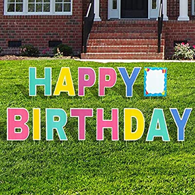 "Aplus Happy Birthday Yard Sign Lawn Letters Set with Stakes, 18"" Colorful Weather-Resistant Signs for Backyard Celebration Colorful Party Outdoor Decorations"