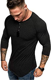 861644fc29060 LISTHA Summer Slim Henley Tops Men s 3 4 Sleeve T-Shirt Pure Dressed Blouse