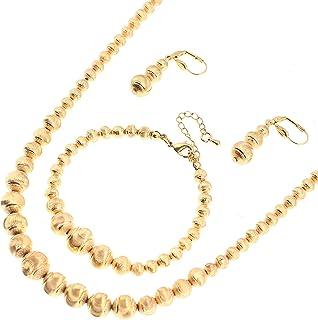 BR Bijoux Or Africain Perles Boucles doreilles Collier Ensemble Bracelet Brillant Perle Boule d/Éthiopie