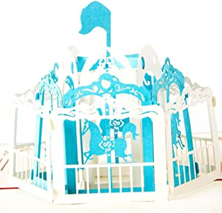 Creative 3D Greeting Card Handmade Paper Carved Hollow Birthday Children Merry-Go-Round Red