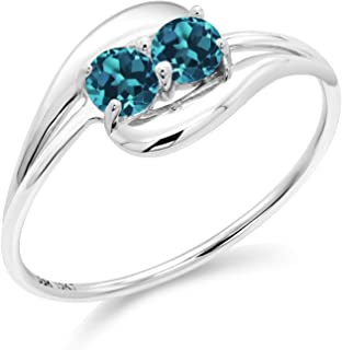 10K White Gold Bypass Ring 0.44 Ct Round London Blue Topaz
