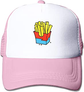 Trucker Hat A Cartoon Junk Food Fries Isolated On White Adjustable Summer Mesh Visor Cotton Baseball Cap for Men Women