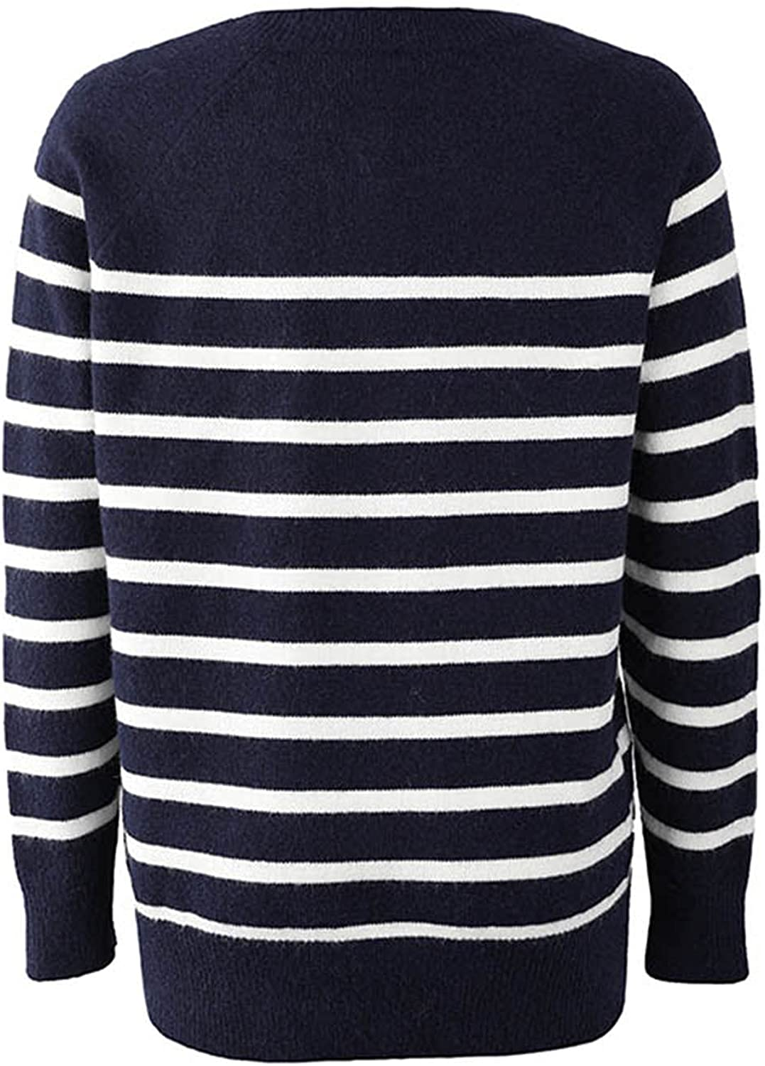 Women Sweater Jumper Top Striped O Neck Buttoned Knitwear Long Sleeve Pullover Tunic Knit Sweater by Pocciol
