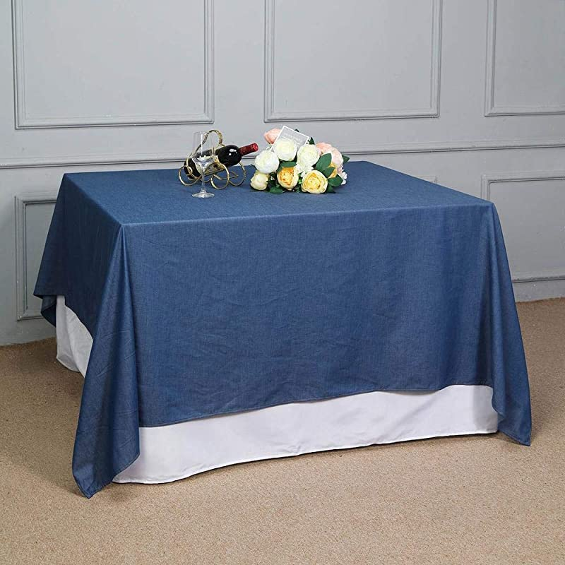 Efavormart 85 X 85 Dark Blue Faux Denim Polyester Table Overlays Square Tablecloth Cover For Wedding Party Event Banquet