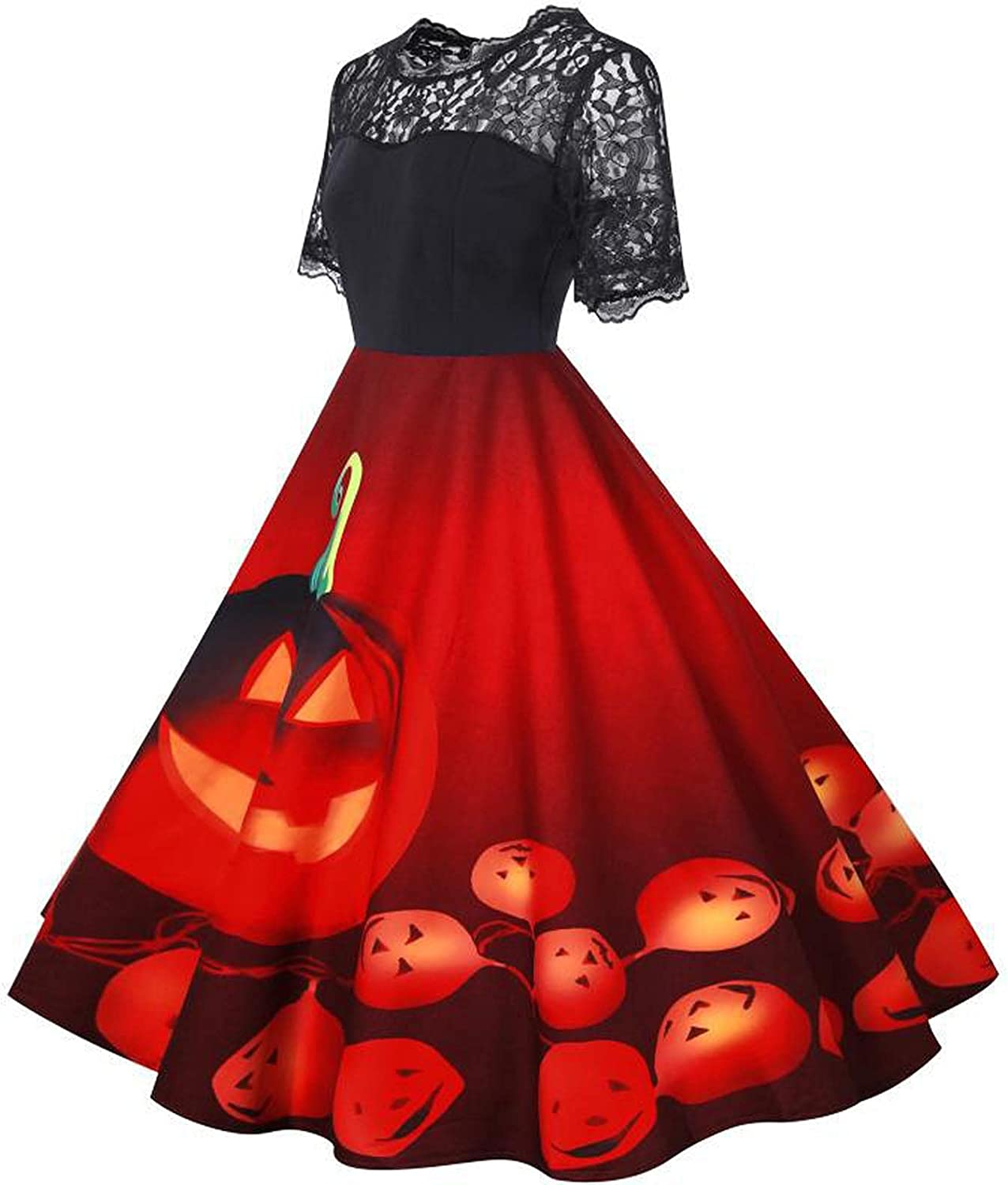 Womens Dresses Halloween Lace Short Sleeve Pumpkin Head Printed Patchwork Swing Party Prom Novely Vintage Midi Dress