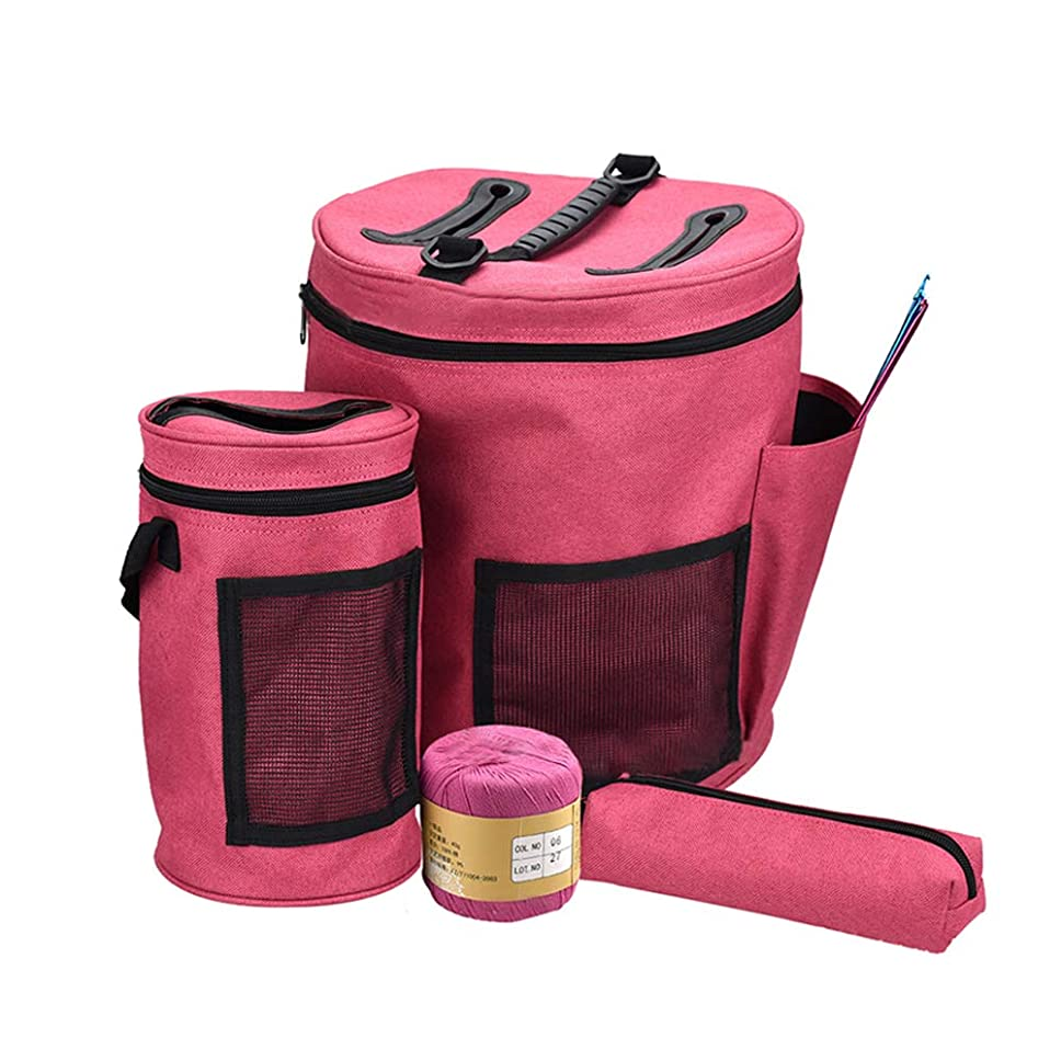 Knitting Bag Yarn Storage - 600D Oxford Yarn Storage Bag - Large Crochet Organizer Bag with Knitting Accessories Case - Pack of 3 (Wine Red)