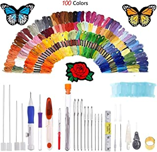 New 136 Pieces Embroidery Kit with Instructions Pen Punch Needle Embroidery Patterns Punch Needle Kit Craft Tool Embroidery Pen Set, Threads 100 Colors for Sewing Knitting