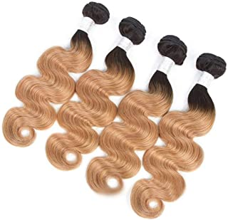 "Hairpieces Hairpieces Fashian 10""-26"" Brazilian Virgin Human Hair Extensions Weft - Body Wave - 1B/27 2 Tones Color (1 Bundle, 110g) for Daily Use and Party (Color : Brown, Size : 10 inch)"