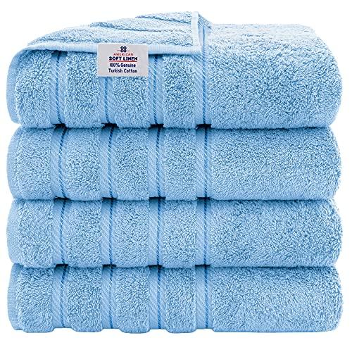 American Soft Linen Luxury Hotel & Spa Quality, Turkish Cotton, 27x54 Inches 4-Piece Bath Towel Set for Maximum Softness &...