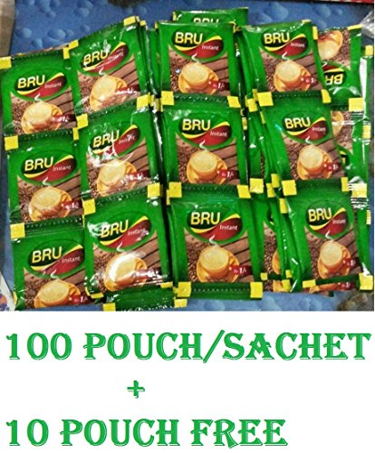 100 + 10 Packets Free Bru Instant Coffee Pouch - Makes 110 Cups Great Coffee Great Start From Bru