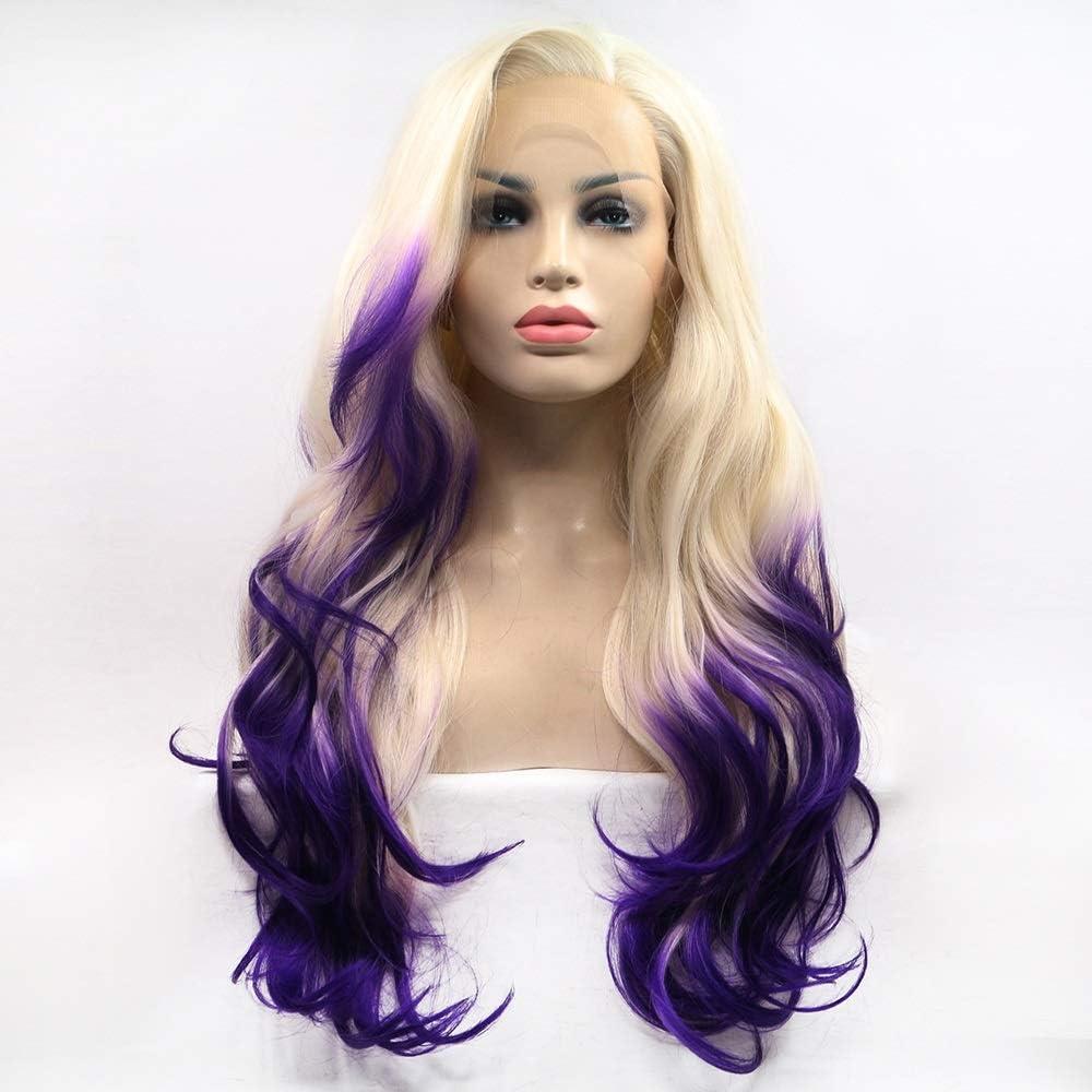 JYMBK Wigs Beige-Purple Very popular Gradient Wig Ladies Lace Europe Philadelphia Mall Handmade