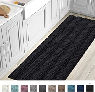 Striped Luxury Chenille Bathroom Rug Mat Runner Oversized 59x20 Inch Extra Soft and Absorbent Shaggy Rugs Dry Extra Long Plush Carpet for Bathroom/Kitchen Machine Washable, Jet Black