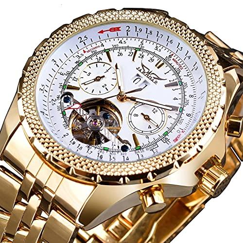 Excellent Reloj de pulsera para hombre, impermeable, automático, de acero inoxidable, cronógrafo, moda de negocios, esfera grande, relojes de diseñador para hombre, A02