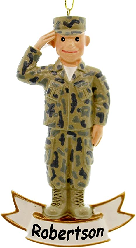 Kurt Adler Personalized Officially Licensed U S Army Soldier With Patriotic Salute Service Member In Camouflage Combat Uniform Hanging Christmas Display Ornament With Custom Name Home Kitchen