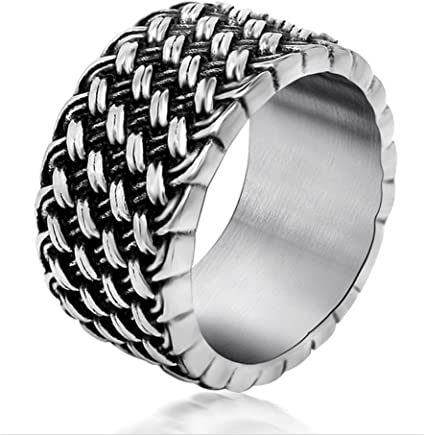 Chryssa Youree 11 MM Men's Retro Jewelry Gothic Biker Wedding Band Woven Stainless Steel Silver Rings 7 to 12(DJZ-1)