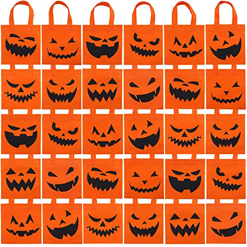 Elcoho 30 Packs Halloween Non-woven Bags Pumpkin Bags Trick or Treat Bags Party Goody Tote Gift Bag with Handles Party Favors, 8 by 8 Inches, 10 Styles