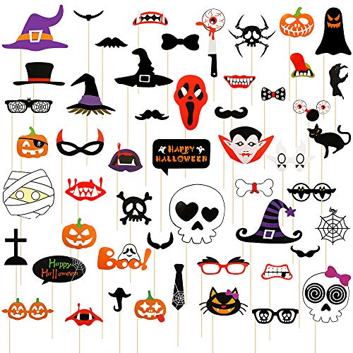 LINGSFIRE 52pcs Photo Booth Props, Halloween Prom Photo Booth Props, Trick or Treat Halloween Party Supplies Decorations Gift with Assorted Funny Prop Signs Designs