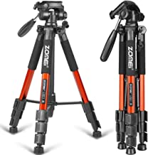 ZOMEI 58'' Compact Light Weight Travel Portable Aluminum Camera Tripod for Canon Nikon Sony DSLR Camera with Carry Case 11 lb Load (Orange)