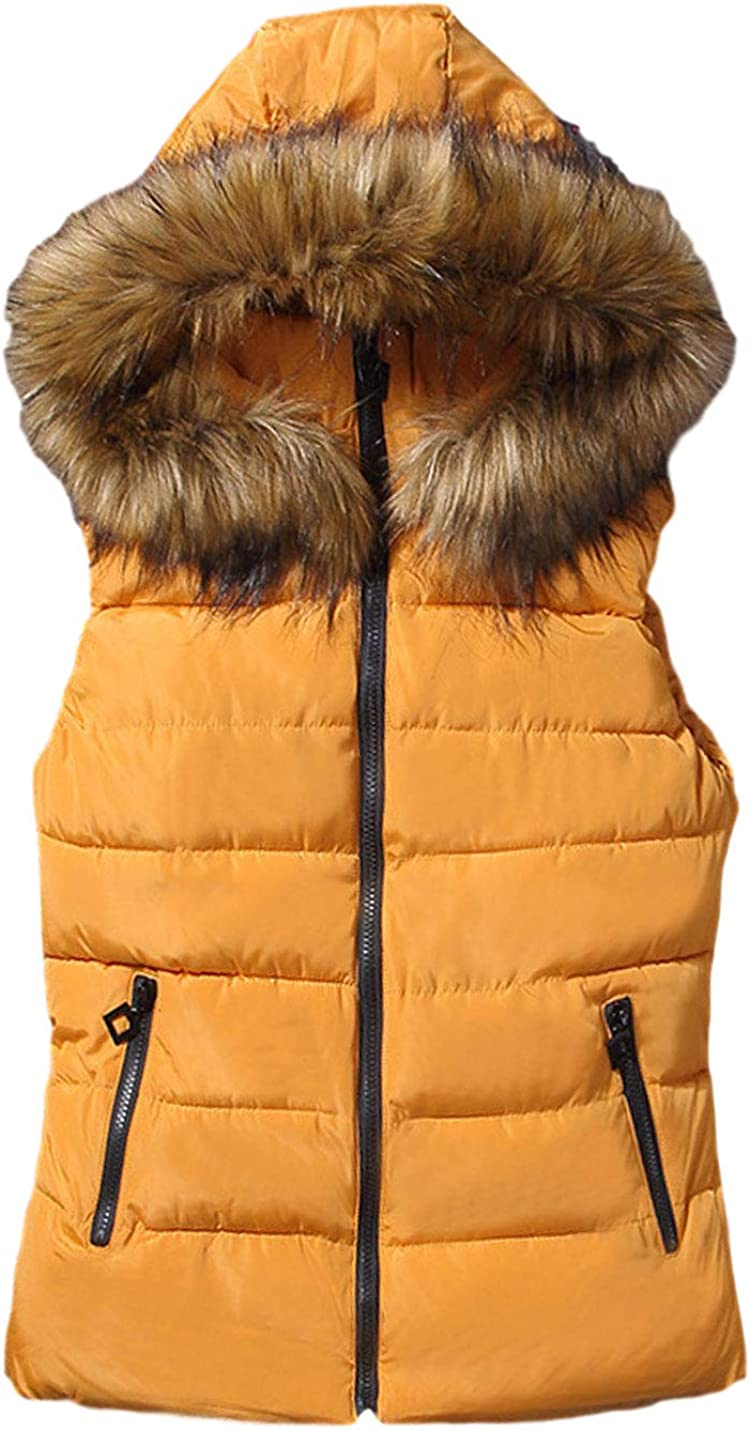 AMEBELLE Women Winter Zip Up Quilted Down Vest Coats with Faux Fur Trim Hood