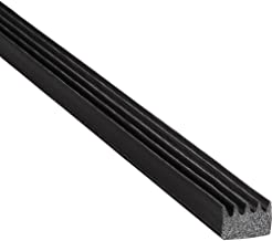 "Trim-Lok Ribbed Rectangle Rubber Seal – EPDM Foam Rubber Seal with High Tack (HT) Adhesive – Door & Window Weather Seal for Garage Doors, Automobiles, Boats – .375"" Height, .625"" Width, 25' Length"