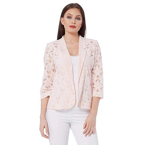 6b170a1ecd720 Roman Originals Floral Lace Jacket - Ladies 3/4 Sleeves Lace Single Breast  Collar Smart