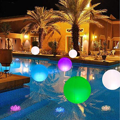 Set mit 2 schwimmenden LED-Solar-Poolleuchten, 14-Zoll-wasserdichtem Garten-Stimmungslicht, 7-Farben-Wechsel-LED-Kugeln, Nachtlicht für Pools, Teiche und mehr