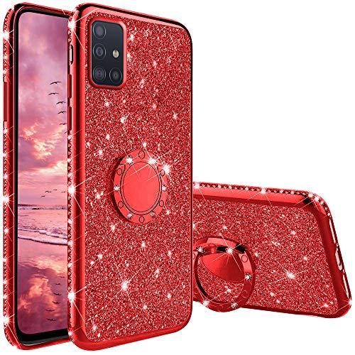 Funda para Samsung Galaxy A71, Glitter Brillante Diamante con 360 Grado Anillo Kickstand Ultra Delgada Premium Fina Resistente Silicona TPU Doble Capa Anti Choques Protectora Carcasa - Rojo
