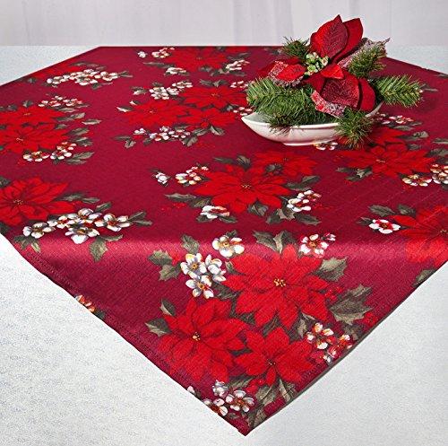 Kamaca Tischdecke Wonderful X-Mas TIME in rot mit Weihnachtssternen EIN HINGUCKER in Winter Advent Weihnachten (Mitteldecke 85x85 cm)