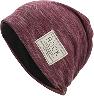 Smallrabbit Cotton Beanies for Women Striped Warm Winter Beanie Headwraps Slouchy Hat Sport (Red)