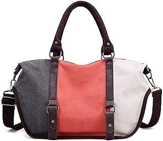Fine Bag/Handbag Contrast Color Stitching Canvas Bag Female Shoulder Bag Casual Large Capacity Messenger Bag Multi-Pocket Capacity (Color : Orange, Size : One Size)