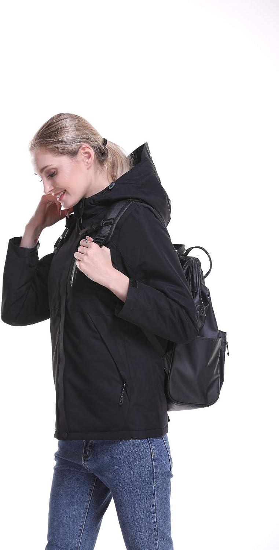 Damen Elektrischer Beheizter Mantel mit Kapuze und Reißverschluss Jacken Winter USB Lade Warme Leichte Hoodie Daunenjacke für Outdoor, Tägliches Schwarz
