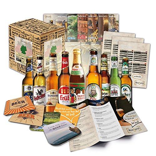 Bier Spezialitäten aus Deutschland Geschenkidee für Männer INKL Bierdeckel Geschenkkarton Bier-Info Biergeschenk für Männer oder als ausgefallene Geschenke für den Freund. Die perfekte Geschenkidee für Männer 9 mal 0,33l