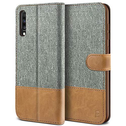 BEZ® Cover Samsung A70, Custodia Compatibile per Portafoglio Samsung Galaxy A70 Protettiva in Tela e PU Pelle Portafoglio Flip Cover con Chiusura Magnetica, Grigio