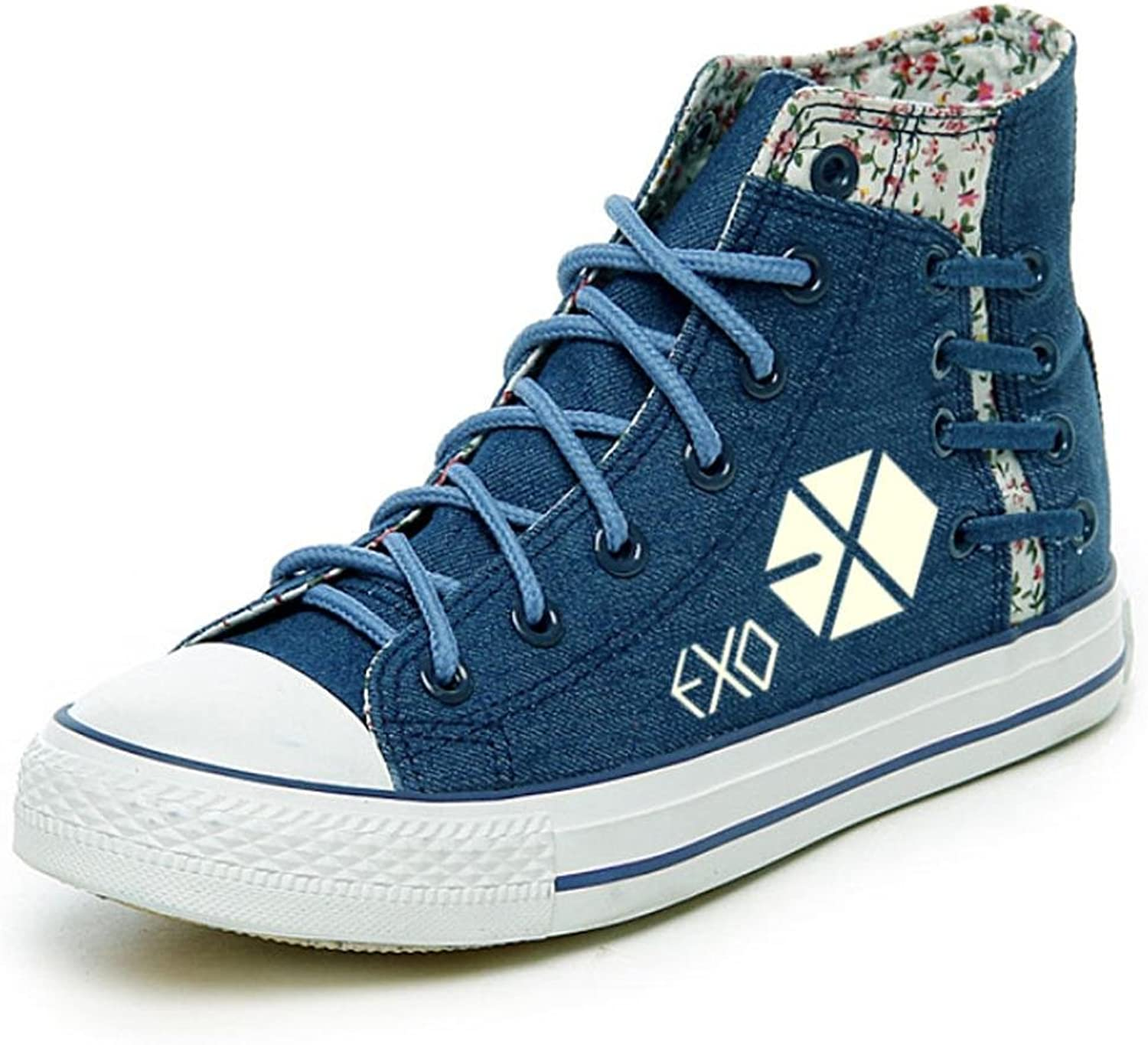 XUEXIN Autumn School of luminous hand-painted shoes shoes casual shoes high canvas at the end of the students ' shoes