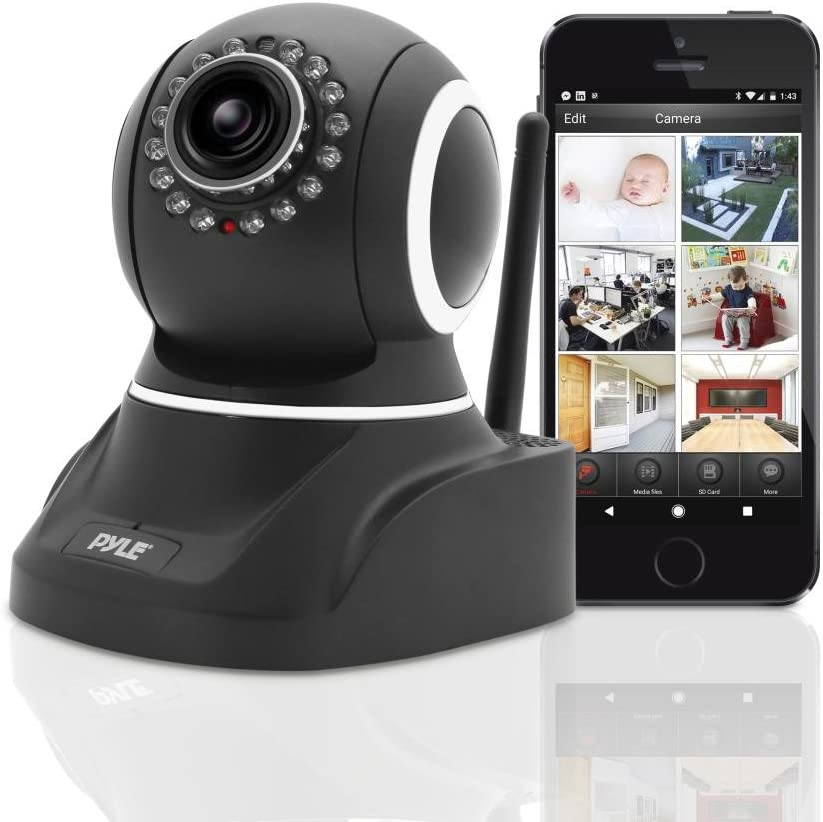 Indoor Wireless Security IP Camera - 1mp HD 720p Home WiFi Nanny Remote Video Monitor - Electronic Motorized Rotating PTZ Pan Tilt Network Surveillance, Voice Mic Audio for Mobile & PC - Pyle PIPCAM8