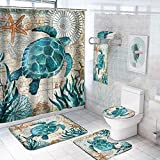 7 Pcs Sea Turtle Shower Curtain Sets with Rugs and Towels, Include Non-Slip Rugs, Toilet Lid Cover, Bath Towel and Mat, Kids Ocean Shower Curtain with 12 Hooks for Bathroom