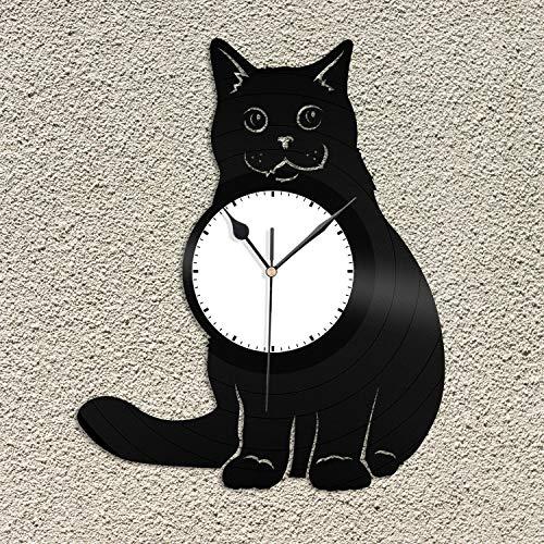British Shorthair Reloj de Pared de Vinilo Record Animal Best Gift Cat Lover Decoración del hogar Diseño Vintage Oficina Bar Habitación Decoración del hogar Disco de Vinilo Reloj de Pared Diseño