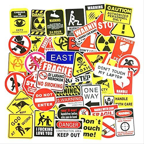 WYJW 50 stuks grappige persoonlijkheid waarschuwing etiket koffer, laptop platte gitaar accu auto hendel box zelfklevend