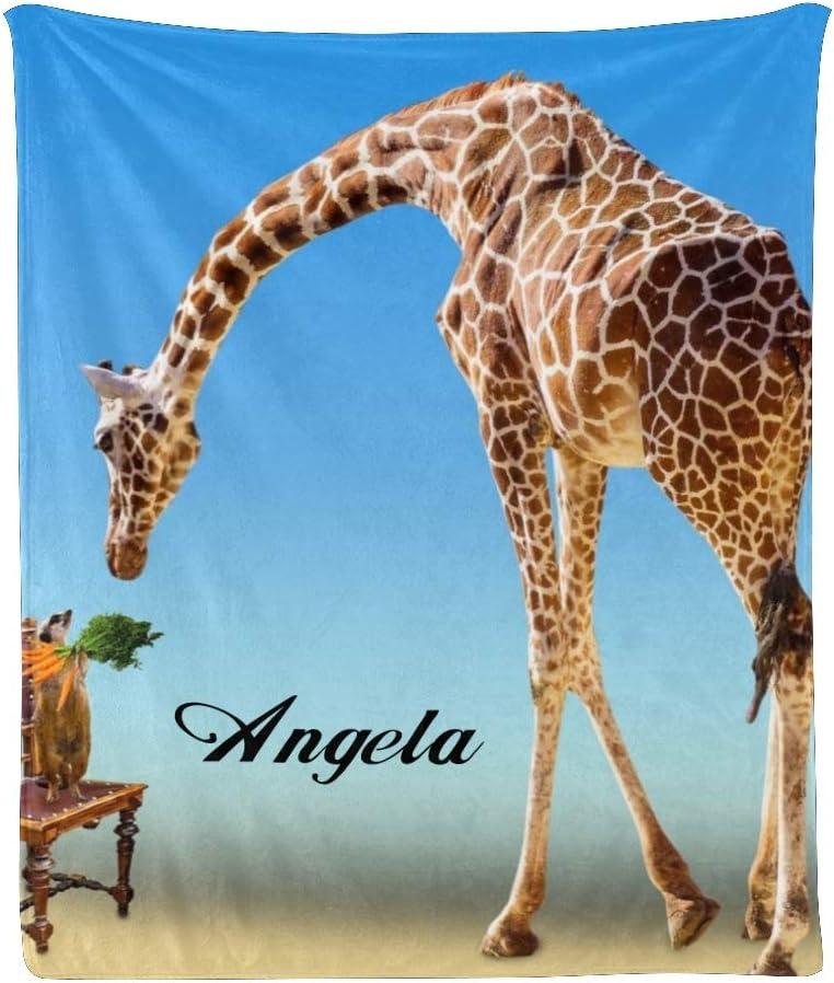 CUXWEOT Custom Blanket Max 67% OFF New sales Personalized Cute Thr Giraffe Soft Fleece