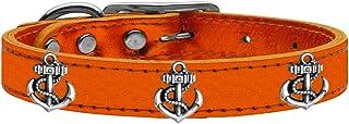 Mirage Pet Products 83-106 OrM26 Silver Anchor Widget Genuine Metallic Leather Dog Collar, Size 26, Orange