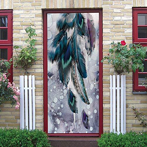 ZWLZJO Papel Pintado Puerta 3D Pluma azul de moda 88x200cm Door Sticker Puerta Pegatinas Wallpaper Sticker Autoadhesivo Vinilo Removable Art Door Decals para la Decoración Casera