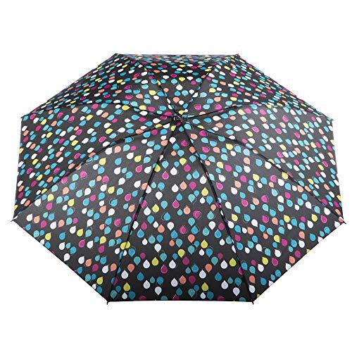 totes InBrella Reverse Folding Umbrella - Inverted Design, Auto Open/Close, Raindrops