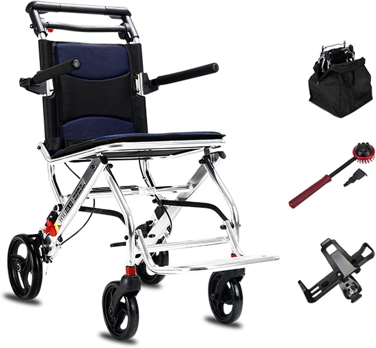 Silla de ruedas ultraligera Silla de ruedas de transporte ultralizante con silla de ruedas plegable con freno de mano y reposapiés Pequeños ancianos discapacitados Carro de silla de ruedas, pesa 21 li
