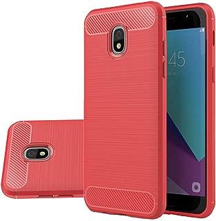 Vinve Carbon Fiber TPU Case Compatible with Samsung Galaxy J3 2018, J3 V 3rd Gen, Express Prime 3, J3 Orbit, J3 Star, J3 Achieve, Amp Prime 3 (Red)