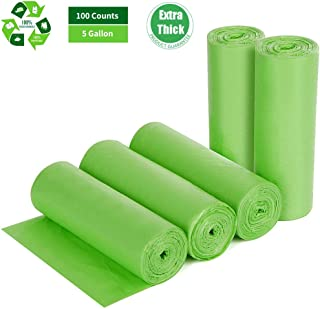 Biodegradable Trash Bags 5 Gallon, 100 Counts, Extra Thick 0.71 MIL Small Trash Bag Compostable Bags Recycling Garbage Bags For Kitchen Bathroom Yard Office Wastebasket Car