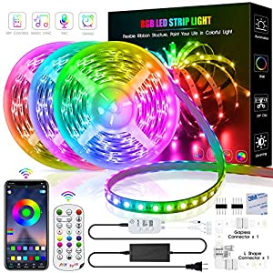 TINOCOR 50ft Led Strip Lights, Led Lights Strip App Control, Color Changing and Synchronization with Music,Led Lights for Bedroom,Room and Home Decoration